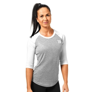 Sjekke Womens Baseball Tee, grey melange, Better Bodies hos SportGymButikken.no