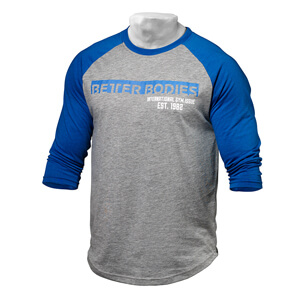 Sjekke Men's Baseball Tee, blue/grey melange, Better Bodies hos SportGymButikken