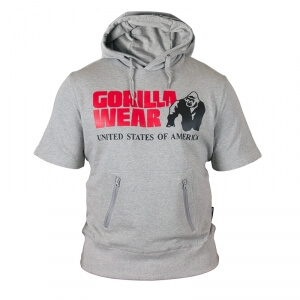 Sjekke Boston Short Sleeve Hoodie, grå, Gorilla Wear hos SportGymButikken.no