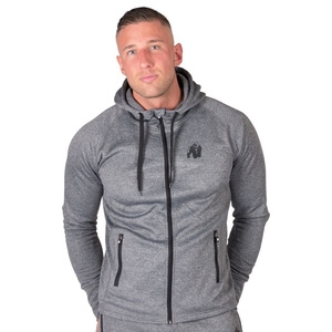Sjekke Bridgeport Zipped Hoodie, dark grey, Gorilla Wear hos SportGymButikken.no