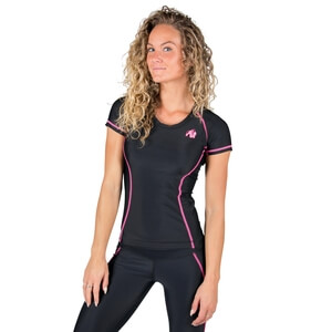 Sjekke Carlin Compression Short Sleeve Top, black/pink, Gorilla Wear hos SportGy